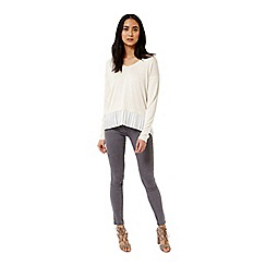Miss Selfridge - Cream pleated 2 in 1 jumper