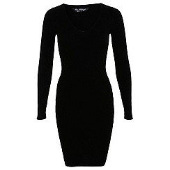 Miss Selfridge - Black v neck knitted dress