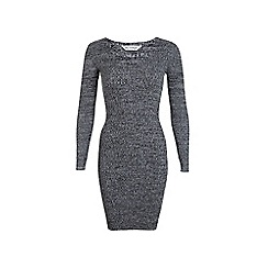 Miss Selfridge - Grey v neck knitted dress