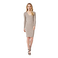 Miss Selfridge - Camel v neck knitted dress