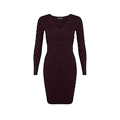Miss Selfridge - Burgundy knitted rib dress
