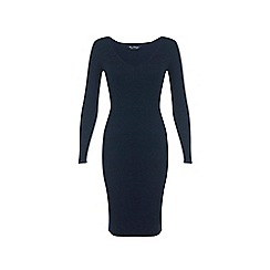 Miss Selfridge - Navy v neck knitted dress