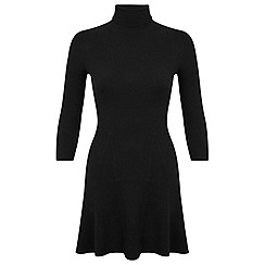 Miss Selfridge - Black ribbed knitted dress