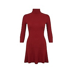 Miss Selfridge - Rust ribbed knitted dress