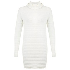 Miss Selfridge - Cream knitted roll neck dress