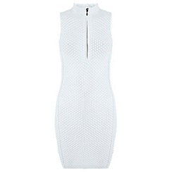 Miss Selfridge - White zip front bodycon dress
