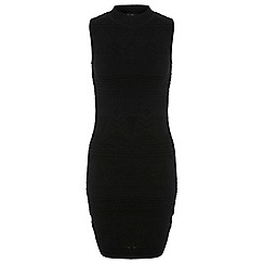 Miss Selfridge - Black stitch panel bodycon dre