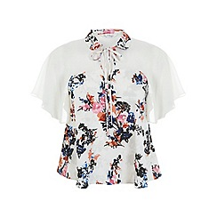 Miss Selfridge - Floral keyhole angel blouse