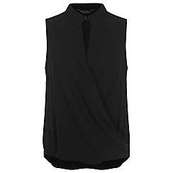 Miss Selfridge - Black sleeveless collar blouse