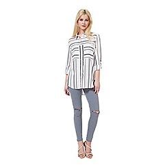 Miss Selfridge - Nude vari stripe shirt