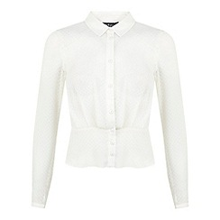 Miss Selfridge - Cream textured scallop blouse