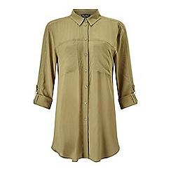 Miss Selfridge - Khaki trim tie front shirt