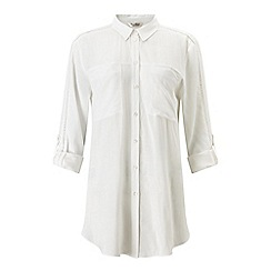 Miss Selfridge - Ivory trim tie front shirt