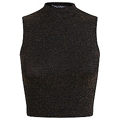 Miss Selfridge - Bronze glitter high neck shell