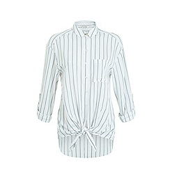 Miss Selfridge - Double stripe tie front shirt