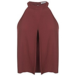 Miss Selfridge - Burgandy halter crop shell