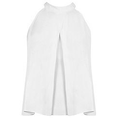 Miss Selfridge - Ivory halter crop shell