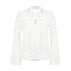 Miss Selfridge - White lace flute sleeve blouse