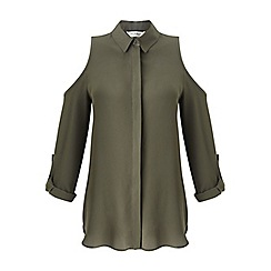 Miss Selfridge - Khaki cold shoulder shirt