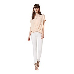Miss Selfridge - Nude lace back drape blouse