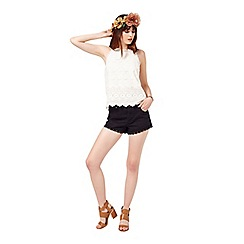 Miss Selfridge - Ivory embroidered shell top