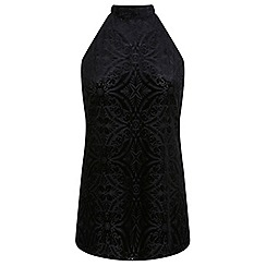 Miss Selfridge - Black cutaway devore tunic