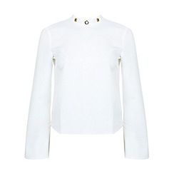 Miss Selfridge - Ivory high neck eyelet blouse