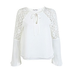 Miss Selfridge - White lace insert blouse