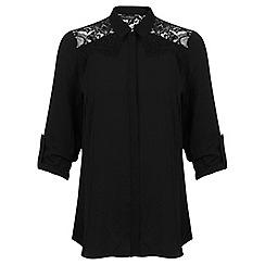 Miss Selfridge - Black lace cowell back shirt