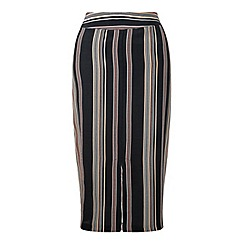 Miss Selfridge - Split front stripe midi skirt