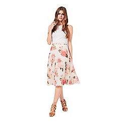 Miss Selfridge - Floral print pleat midi skirt