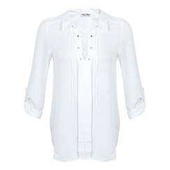 Miss Selfridge - Ivory lace up shirt