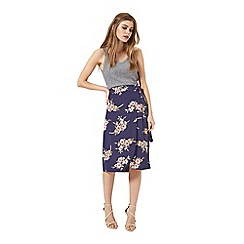 Miss Selfridge - Navy floral wrap skirt