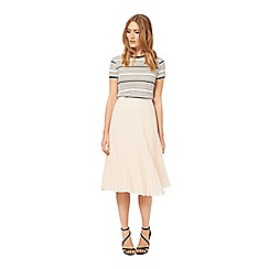 Miss Selfridge - Nude pleated midi skirt