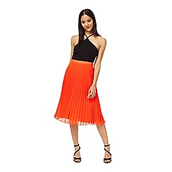 Miss Selfridge - Red pleated midi skirt