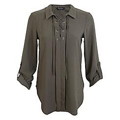 Miss Selfridge - Khaki lace up shirt