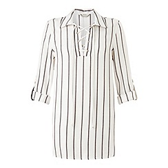 Miss Selfridge - Vari stripe lace up shirt