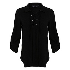 Miss Selfridge - Black lace up shirt