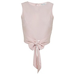 Miss Selfridge - Blush tie front shell