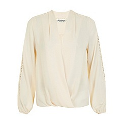 Miss Selfridge - Nude trim drape blouse