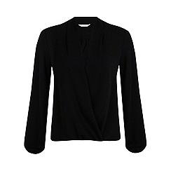 Miss Selfridge - Black trim drape blouse