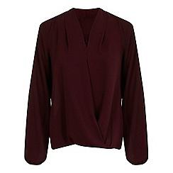 Miss Selfridge - Burgundy trim drape blouse