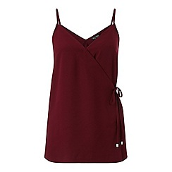 Miss Selfridge - Burgundy tie wrap cami