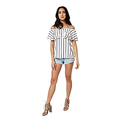 Miss Selfridge - Stripe frill bardot top