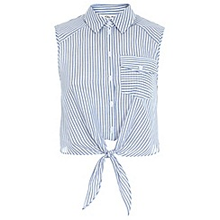 Miss Selfridge - Tie front stripe shirt