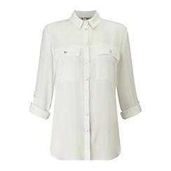Miss Selfridge - White double pocket shirt