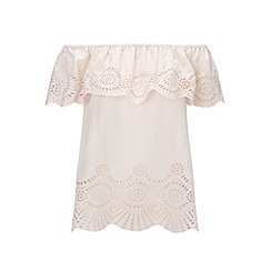 Miss Selfridge - Nude crochet hem bardot top