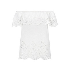 Miss Selfridge - White crochet hem bardot top