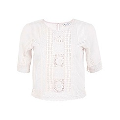 Miss Selfridge - Cream embroidered tee