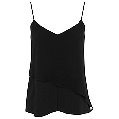 Miss Selfridge - Black asymmetric layer cami